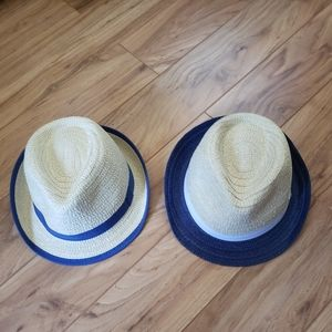 Pair of woven Fedoras